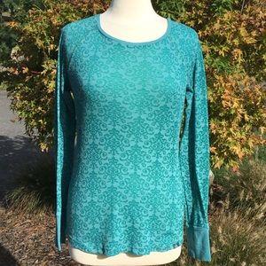 Prana Green Long Sleeve Thermal 'Breathe' Shirt